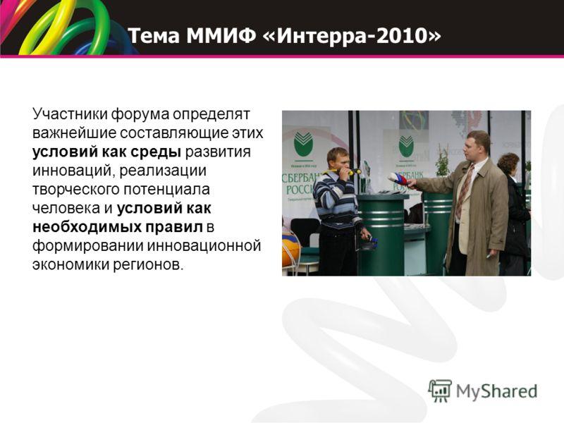 Участники форума определят важнейшие составляющие этих условий как среды развития инноваций, реализации творческого потенциала человека и условий как необходимых правил в формировании инновационной экономики регионов. Тема ММИФ «Интерра-2010»