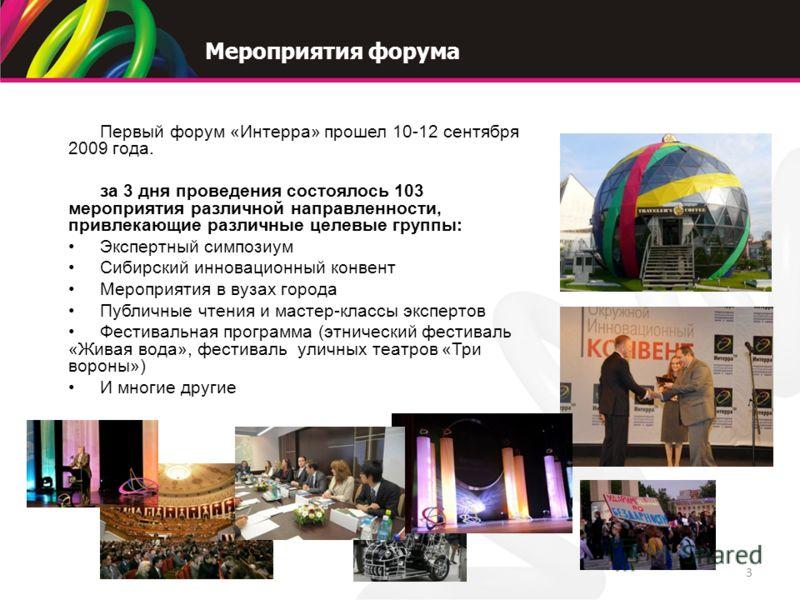 Мероприятия форума 3 Первый форум «Интерра» прошел 10-12 сентября 2009 года. за 3 дня проведения состоялось 103 мероприятия различной направленности, привлекающие различные целевые группы: Экспертный симпозиум Сибирский инновационный конвент Мероприя