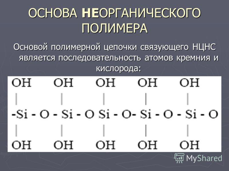 ОСНОВА НЕОРГАНИЧЕСКОГО ПОЛИМЕРА Основой полимерной цепочки связующего НЦНС является последовательность атомов кремния и кислорода: