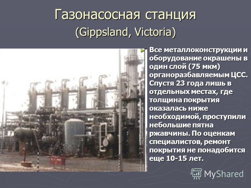 Газонасосная станция (Gippsland, Victoria) Все металлоконструкции и оборудование окрашены в один слой (75 мкм) органоразбавляемым ЦСС. Спустя 23 года лишь в отдельных местах, где толщина покрытия оказалась ниже необходимой, проступили небольшие пятна