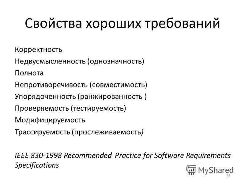 Свойства хороших требований Корректность Недвусмысленность (однозначность) Полнота Непротиворечивость (совместимость) Упорядоченность (ранжированность ) Проверяемость (тестируемость) Модифицируемость Трассируемость (прослеживаемость) IEEE 830-1998 Re