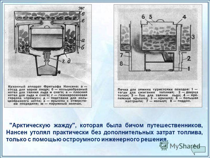 Арктическую жажду, которая была бичом путешественников, Нансен утолял практически без дополнительных затрат топлива, только с помощью остроумного инженерного решения.