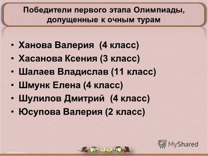 Ханова Валерия (4 класс) Хасанова Ксения (3 класс) Шалаев Владислав (11 класс) Шмунк Елена (4 класс) Шулилов Дмитрий (4 класс) Юсупова Валерия (2 класс) Победители первого этапа Олимпиады, допущенные к очным турам