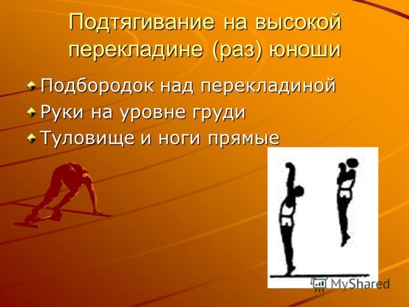 Подтягивание на высокой перекладине (раз) юноши Подбородок над перекладиной Руки на уровне груди Туловище и ноги прямые