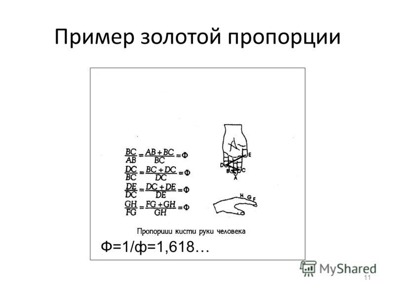 Пример золотой пропорции 11 Ф=1/ф=1,618…