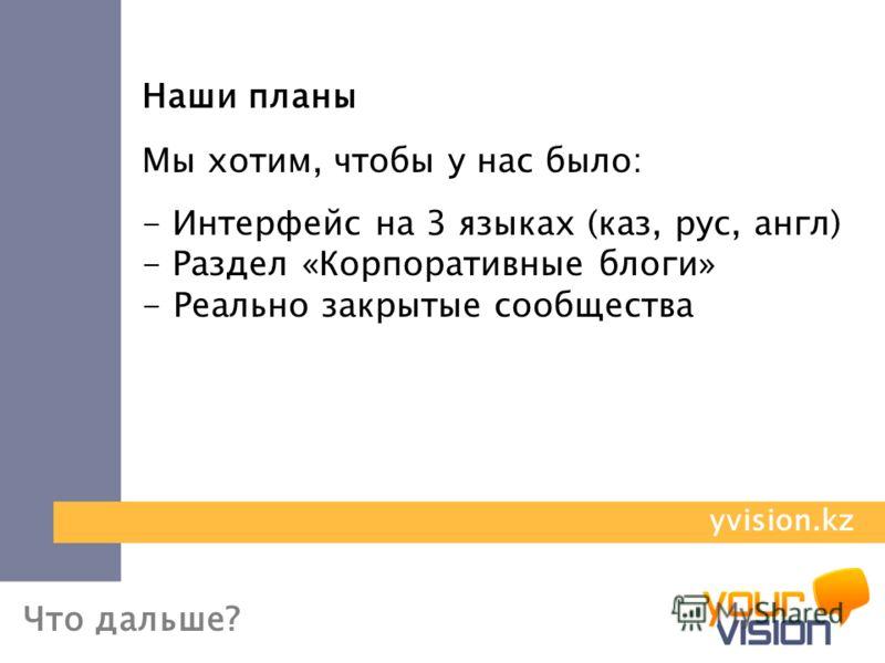 Что дальше? Наши планы Мы хотим, чтобы у нас было: - Интерфейс на 3 языках (каз, рус, англ) - Раздел «Корпоративные блоги» - Реально закрытые сообщества yvision.kz
