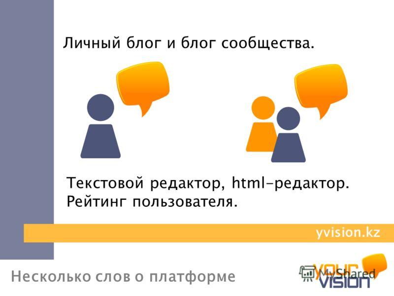 Несколько слов о платформе Личный блог и блог сообщества. Текстовой редактор, html-редактор. Рейтинг пользователя. yvision.kz