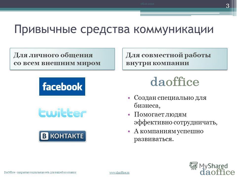 www.daoffice.ru Привычные средства коммуникации 06.10.2010 DaОffice - закрытая социальная сеть для вашей компании 3 Создан специально для бизнеса, Помогает людям эффективно сотрудничать, А компаниям успешно развиваться. Для личного общения со всем вн