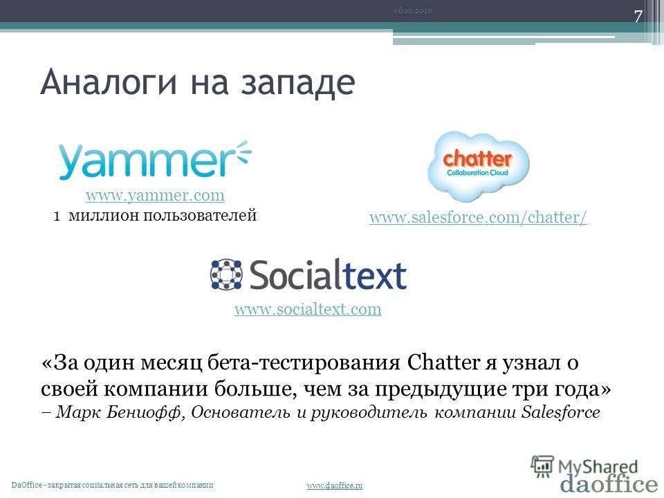 www.daoffice.ru Аналоги на западе 06.10.2010 DaОffice - закрытая социальная сеть для вашей компании 7 www.salesforce.com/chatter/ www.yammer.com 1 миллион пользователей www.socialtext.com «За один месяц бета-тестирования Chatter я узнал о своей компа