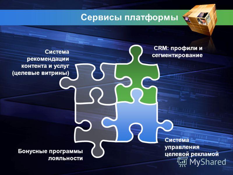 Сервисы платформы Система управления целевой рекламой Система рекомендации контента и услуг (целевые витрины) CRM: профили и сегментирование Бонусные программы лояльности