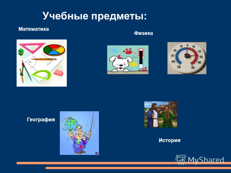 Учебные предметы: Математика Физика География История