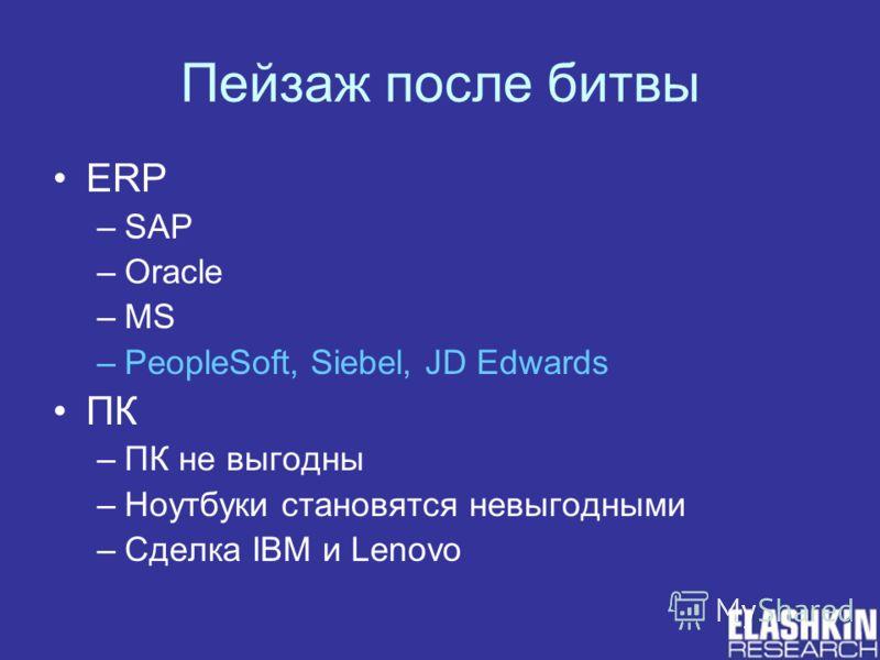 Пейзаж после битвы ERP –SAP –Oracle –MS –PeopleSoft, Siebel, JD Edwards ПК –ПК не выгодны –Ноутбуки становятся невыгодными –Сделка IBM и Lenovo