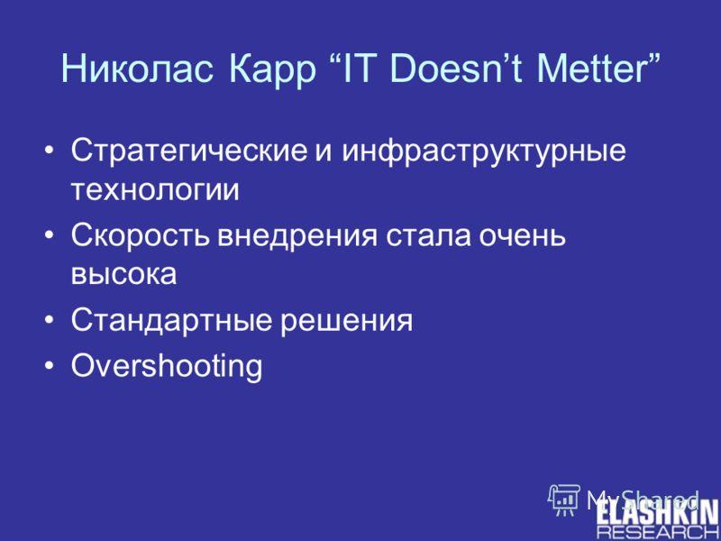 Николас Карр IT Doesnt Metter Стратегические и инфраструктурные технологии Скорость внедрения стала очень высока Стандартные решения Overshooting
