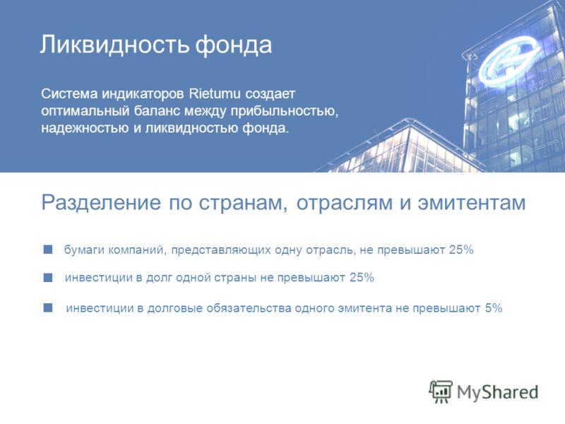 Ликвидность фонда Система индикаторов Rietumu создает оптимальный баланс между прибыльностью, надежностью и ликвидностью фонда. Разделение по странам, отраслям и эмитентам бумаги компаний, представляющих одну отрасль, не превышают 25% инвестиции в до