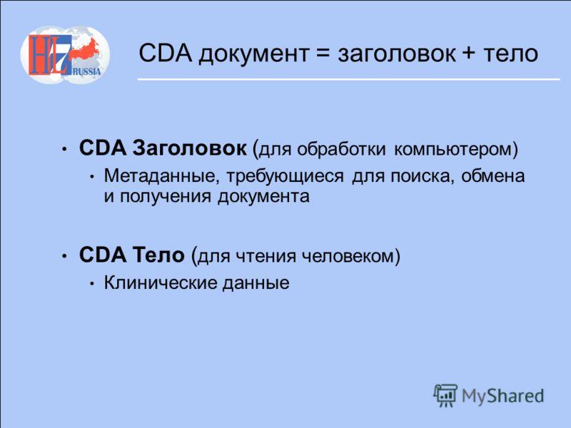 CDA документ = заголовок + тело CDA Заголовок ( для обработки компьютером) Метаданные, требующиеся для поиска, обмена и получения документа CDA Тело ( для чтения человеком) Клинические данные