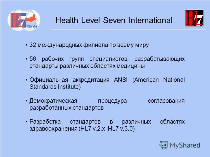 Health Level Seven International 32 международных филиала по всему миру 56 рабочих групп специалистов, разрабатывающих стандарты различных областях медицины Официальная аккредитация ANSI (American National Standards Institute) Демократическая процеду