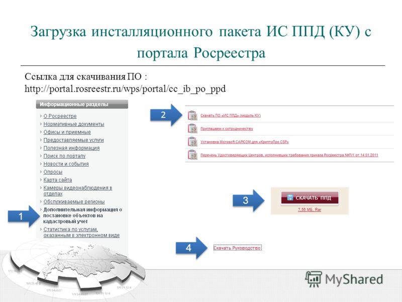 Загрузка инсталляционного пакета ИС ППД (КУ) с портала Росреестра 2 2 Ссылка для скачивания ПО : http://portal.rosreestr.ru/wps/portal/cc_ib_po_ppd 1 1 3 3 4 4