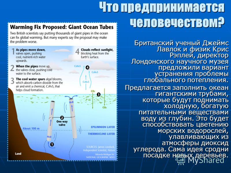 Что предпринимается человечеством? Британский ученый Джеймс Лавлок и физик Крис Рэплей, директор Лондонского научного музея предложили вариант устранения проблемы глобального потепления. Предлагается заполнить океан гигантскими трубами, которые будут