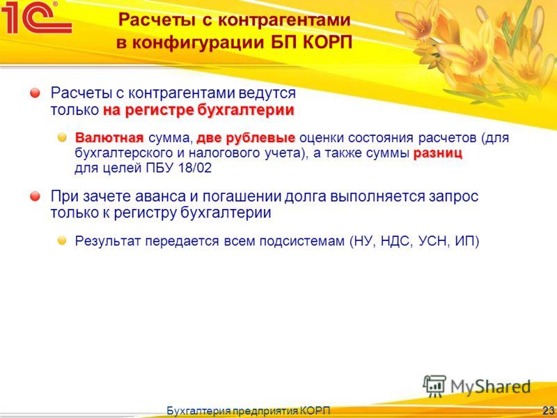 Бухгалтерия предприятия КОРП 23 Расчеты с контрагентами в конфигурации БП КОРП на регистре бухгалтерии Расчеты с контрагентами ведутся только на регистре бухгалтерии Валютнаядве рублевые разниц Валютная сумма, две рублевые оценки состояния расчетов (