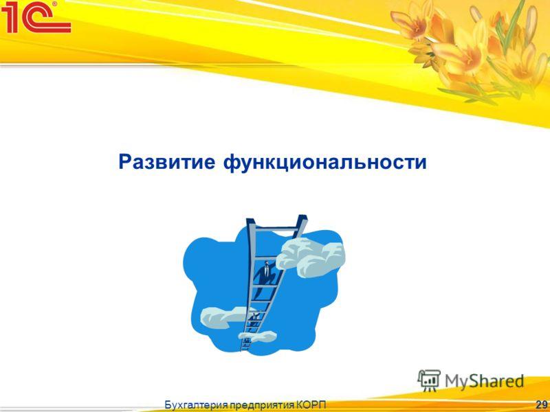 Бухгалтерия предприятия КОРП 29 Развитие функциональности