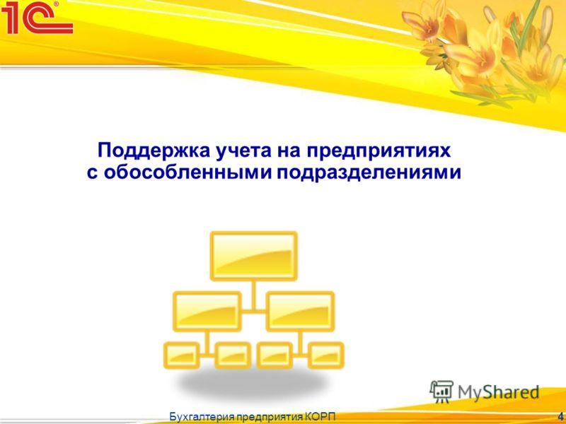 Бухгалтерия предприятия КОРП 4 Поддержка учета на предприятиях с обособленными подразделениями