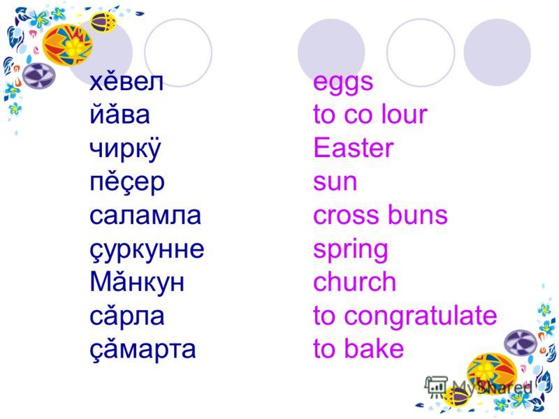 хěвел eggs йǎва to co lour чиркÿ Easter пěçер sun саламла cross buns çуркунне spring Мǎнкун church cǎрла to congratulate çǎмарта to bake