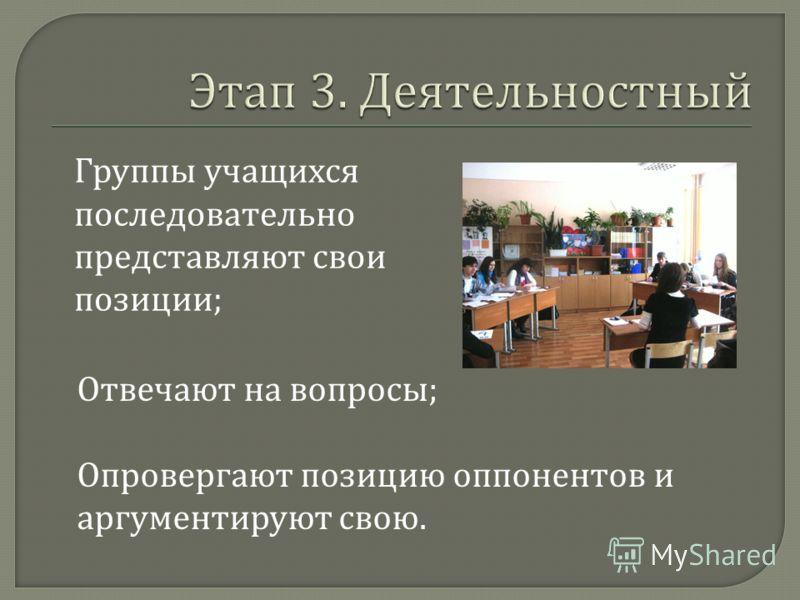 Группы учащихся последовательно представляют свои позиции ; Отвечают на вопросы ; Опровергают позицию оппонентов и аргументируют свою.
