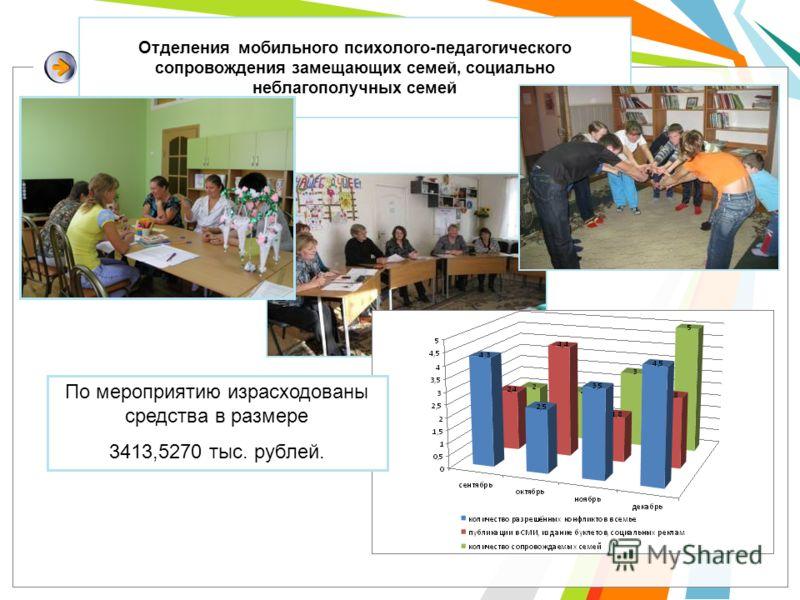 Отделения мобильного психолого-педагогического сопровождения замещающих семей, социально неблагополучных семей По мероприятию израсходованы средства в размере 3413,5270 тыс. рублей.