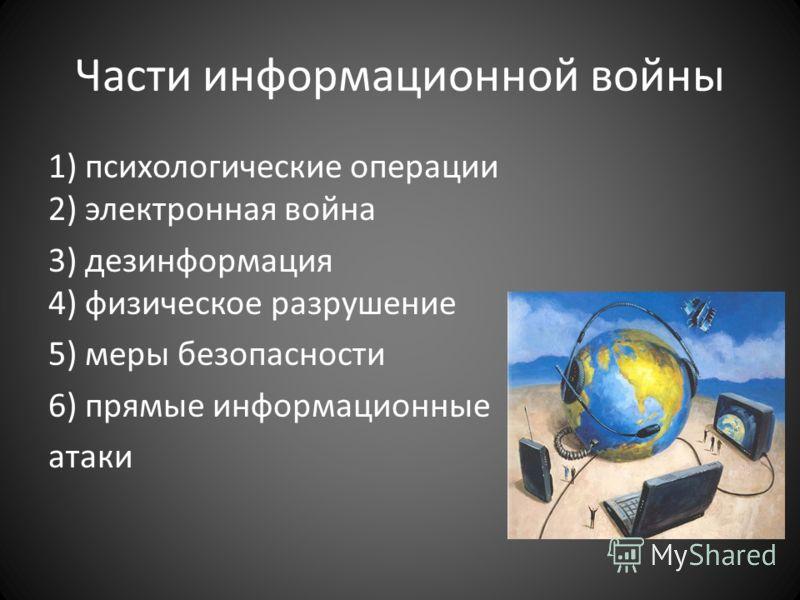 Части информационной войны 1) психологические операции 2) электронная война 3) дезинформация 4) физическое разрушение 5) меры безопасности 6) прямые информационные атаки