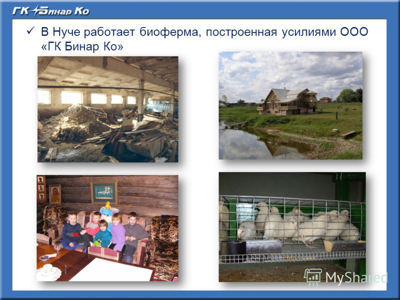 В Нуче работает биоферма, построенная усилиями ООО «ГК Бинар Ко»