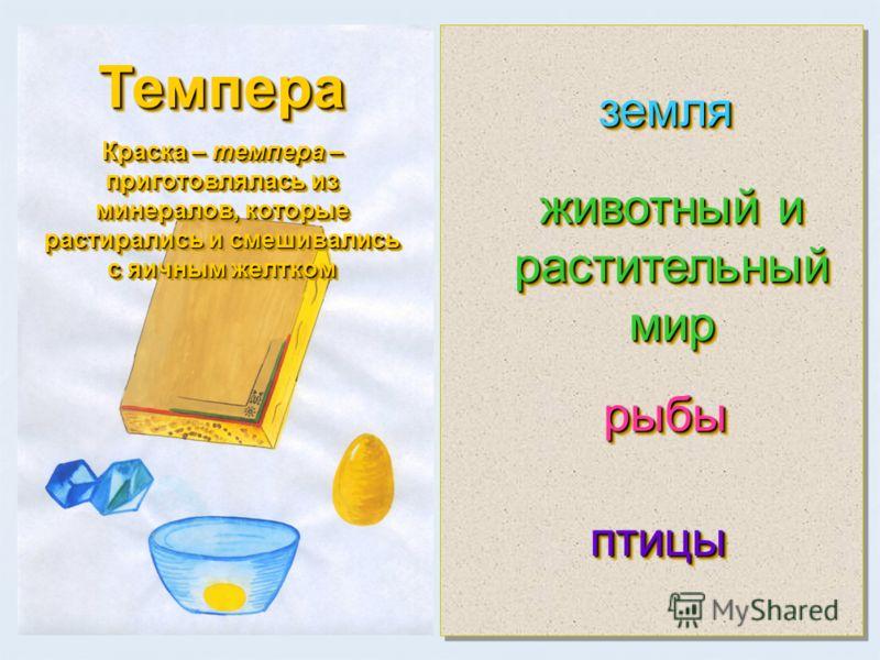 Темпера Краска – темпера – приготовлялась из минералов, которые растирались и смешивались с яичным желтком Темпера земля земля животный и растительный мир рыбырыбы птицыптицы