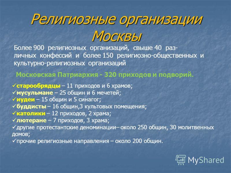 Религиозные организации Москвы Более 900 религиозных организаций, свыше 40 раз- личных конфессий и более 150 религиозно-общественных и культурно-религиозных организаций Московская Патриархия - 320 приходов и подворий. старообрядцы – 11 приходов и 6 х