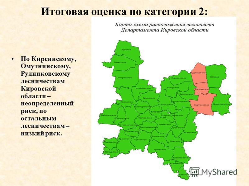 Итоговая оценка по категории 2: По Кирсинскому, Омутнинскому, Рудниковскому лесничествам Кировской области – неопределенный риск, по остальным лесничествам – низкий риск.