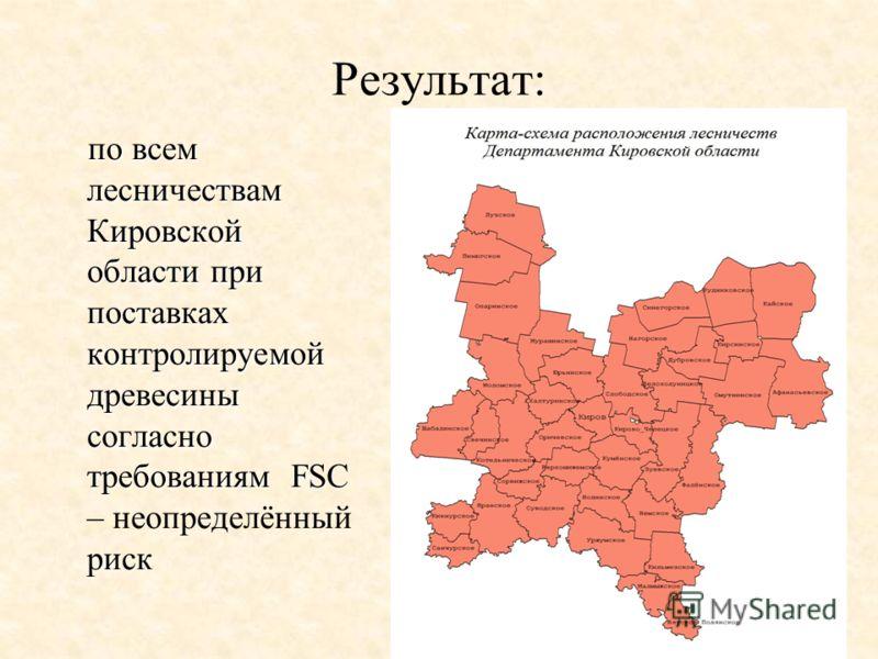 Результат: по всем лесничествам Кировской области при поставках контролируемой древесины согласно требованиям FSC риск по всем лесничествам Кировской области при поставках контролируемой древесины согласно требованиям FSC – неопределённый риск