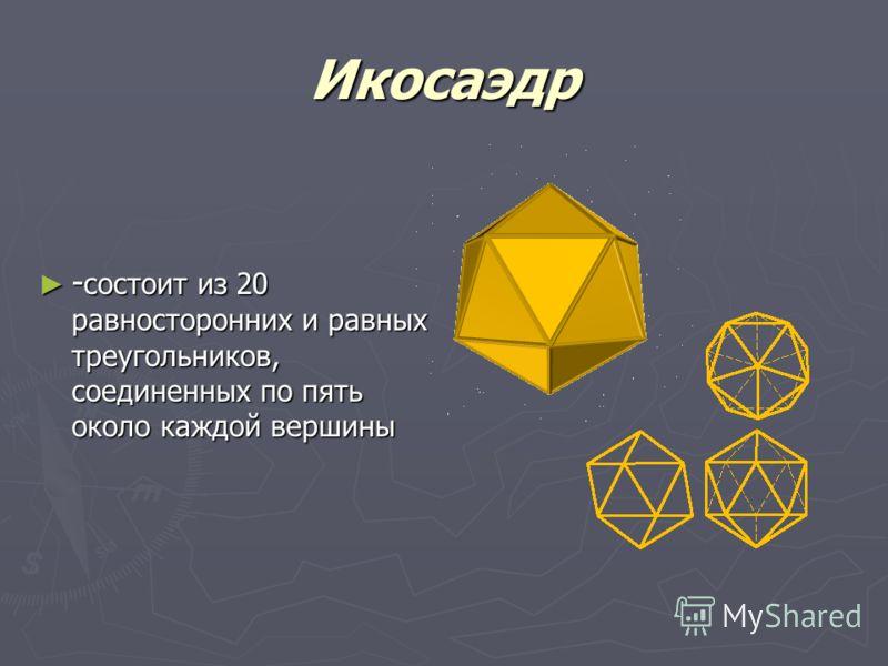 Додекаэдр -правильный двенадцатигранник, состоит из двенадцати правильных и равных пятиугольников, соединенных по три около каждой вершины -правильный двенадцатигранник, состоит из двенадцати правильных и равных пятиугольников, соединенных по три око