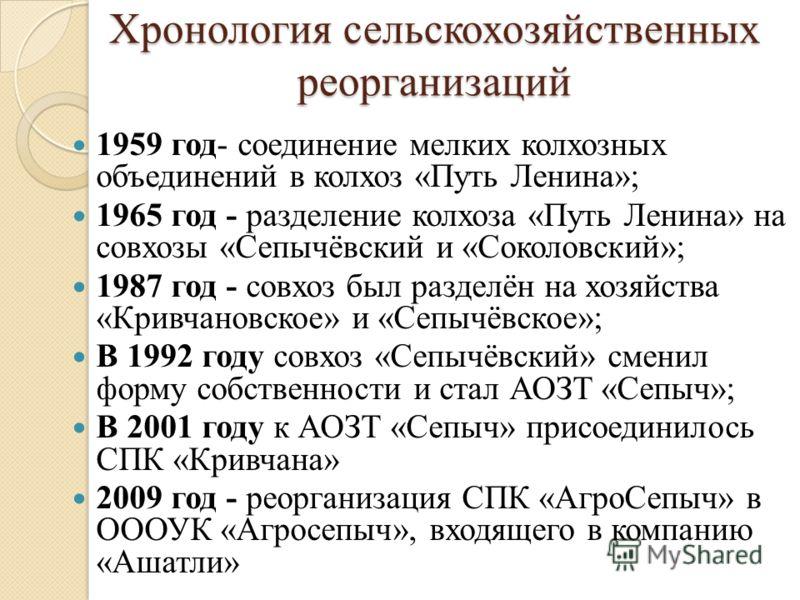 Хронология сельскохозяйственных реорганизаций 1959 год- соединение мелких колхозных объединений в колхоз «Путь Ленина»; 1965 год - разделение колхоза «Путь Ленина» на совхозы «Сепычёвский и «Соколовский»; 1987 год - совхоз был разделён на хозяйства «
