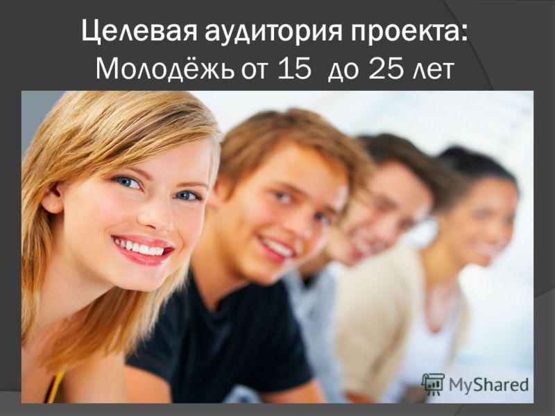 Целевая аудитория проекта: Молодёжь от 15 до 25 лет