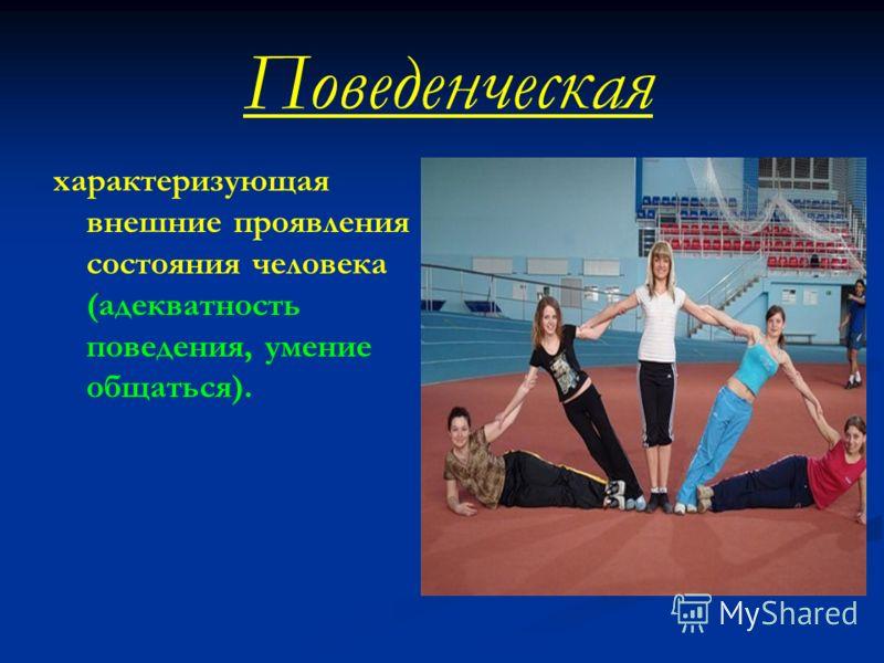Поведенческая характеризующая внешние проявления состояния человека (адекватность поведения, умение общаться).
