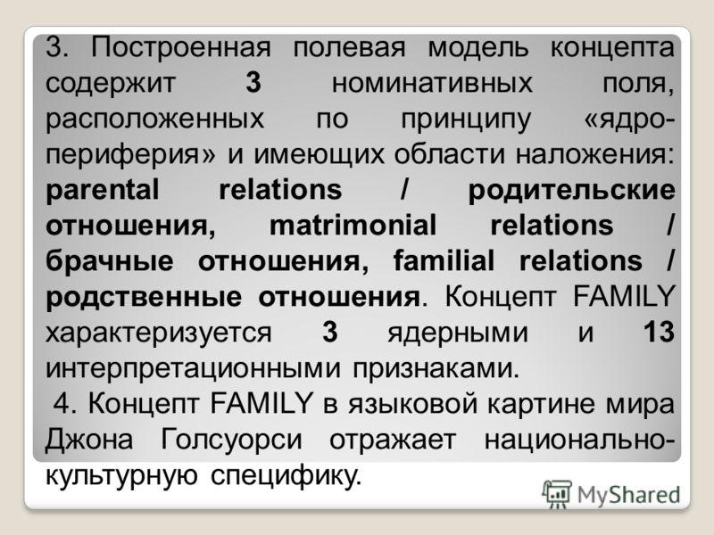 3. Построенная полевая модель концепта содержит 3 номинативных поля, расположенных по принципу «ядро- периферия» и имеющих области наложения: parental relations / родительские отношения, matrimonial relations / брачные отношения, familial relations /