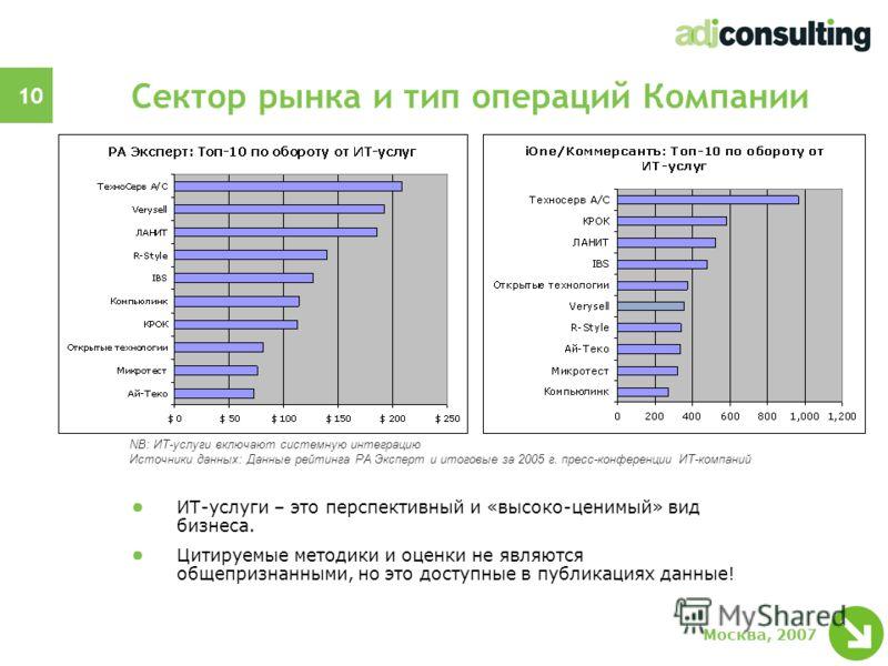 10 Москва, 2007 Сектор рынка и тип операций Компании ИТ-услуги – это перспективный и «высоко-ценимый» вид бизнеса. Цитируемые методики и оценки не являются общепризнанными, но это доступные в публикациях данные! NB: ИТ-услуги включают системную интег