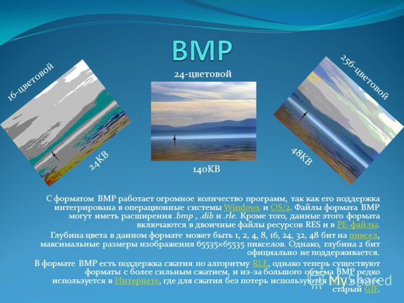 С форматом BMP работает огромное количество программ, так как его поддержка интегрирована в операционные системы Windows и OS/2. Файлы формата BMP могут иметь расширения.bmp,.dib и.rle. Кроме того, данные этого формата включаются в двоичные файлы рес