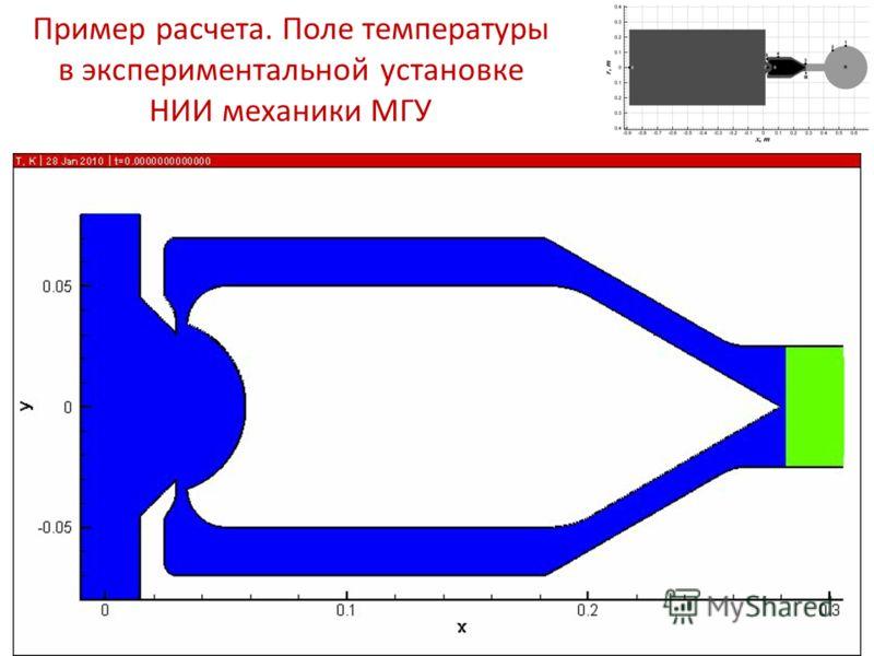 Пример расчета. Поле температуры в экспериментальной установке НИИ механики МГУ