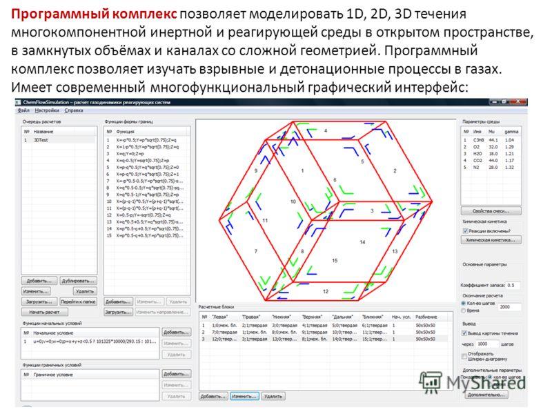 Программный комплекс позволяет моделировать 1D, 2D, 3D течения многокомпонентной инертной и реагирующей среды в открытом пространстве, в замкнутых объёмах и каналах со сложной геометрией. Программный комплекс позволяет изучать взрывные и детонационны