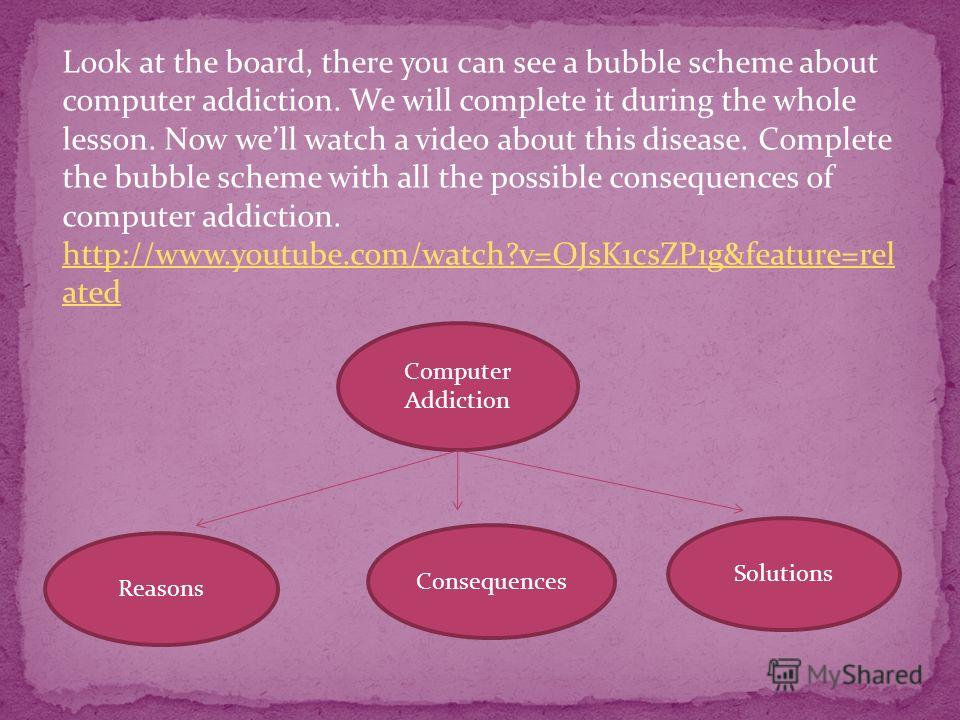 Look at the board, there you can see a bubble scheme about computer addiction. We will complete it during the whole lesson. Now well watch a video about this disease. Complete the bubble scheme with all the possible consequences of computer addiction