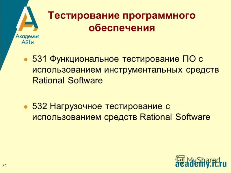 31 Тестирование программного обеспечения 531 Функциональное тестирование ПО с использованием инструментальных средств Rational Software 532 Нагрузочное тестирование с использованием средств Rational Software