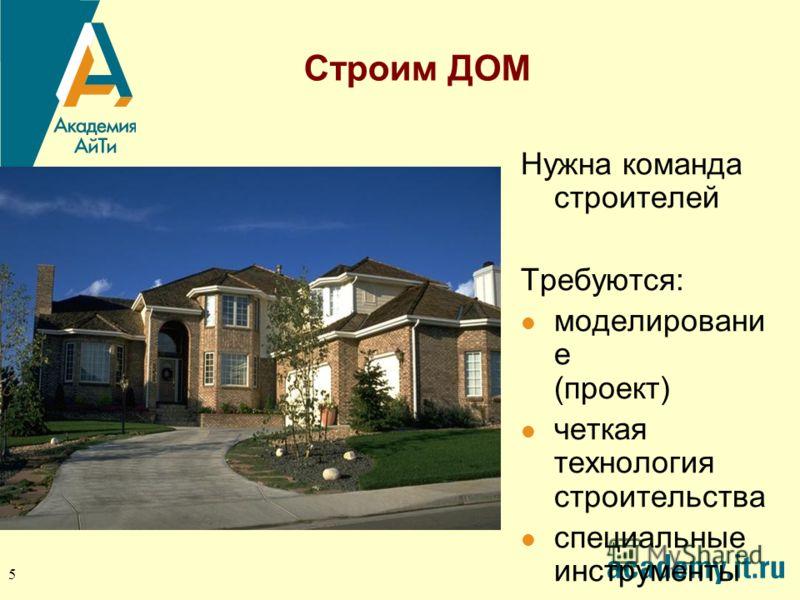 5 Строим ДОМ Нужна команда строителей Требуются: моделировани е (проект) четкая технология строительства специальные инструменты