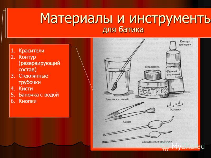 Материалы и инструменты для батика 1.Красители 2.Контур (резервирующий состав) 3.Стеклянные трубочки 4.Кисти 5.Баночка с водой 6.Кнопки