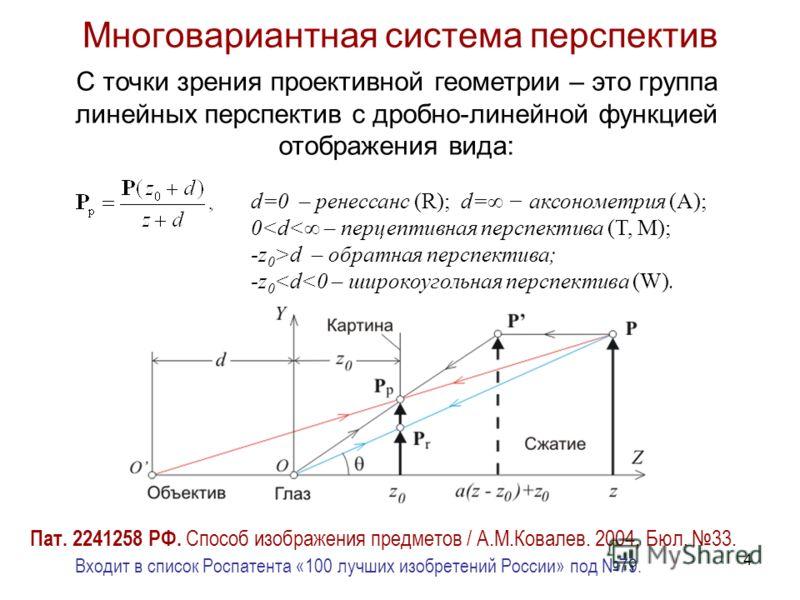 4 Многовариантная система перспектив С точки зрения проективной геометрии – это группа линейных перспектив с дробно-линейной функцией отображения вида: d=0 – ренессанс (R); d= аксонометрия (A); 0d – обратная перспектива; -z 0