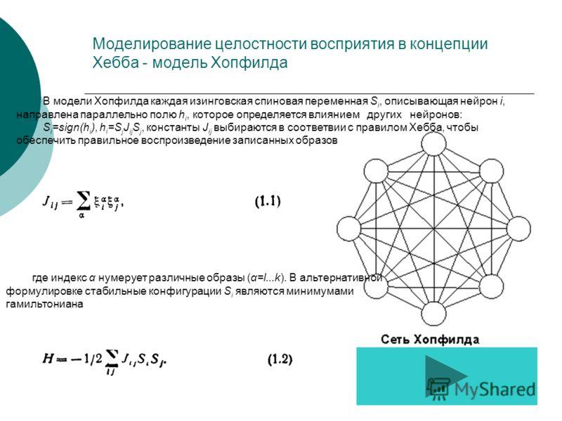 Моделирование целостности восприятия в концепции Хебба - модель Хопфилда В модели Хопфилда каждая изинговская спиновая переменная S i, описывающая нейрон i, направлена параллельно полю h i, которое определяется влиянием других нейронов: S i =sign(h