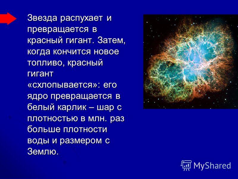 Звезда распухает и превращается в красный гигант. Затем, когда кончится новое топливо, красный гигант «схлопывается»: его ядро превращается в белый карлик – шар с плотностью в млн. раз больше плотности воды и размером с Землю.
